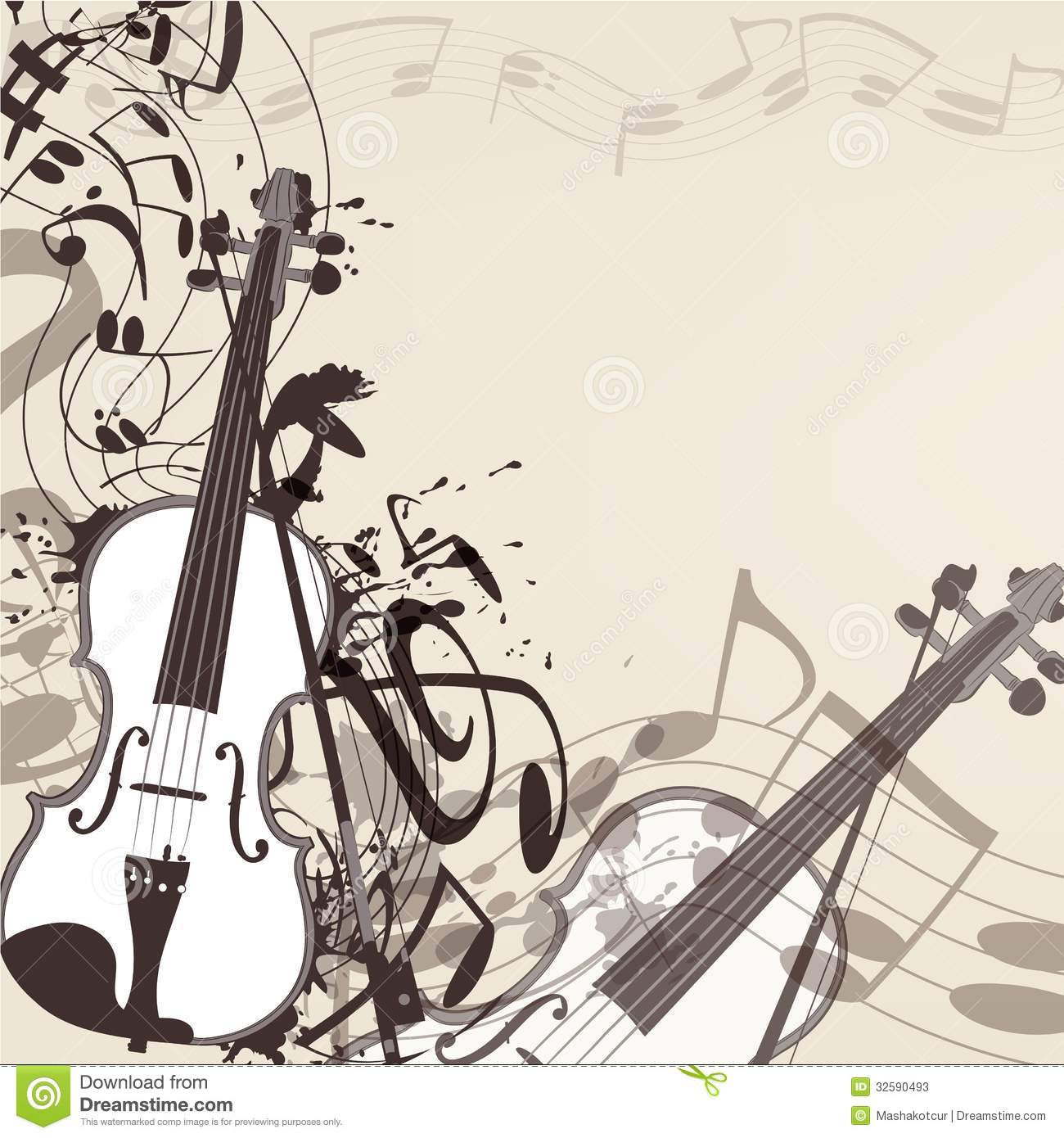 Music Vector Background With Violin And Notes Stock Photos ...