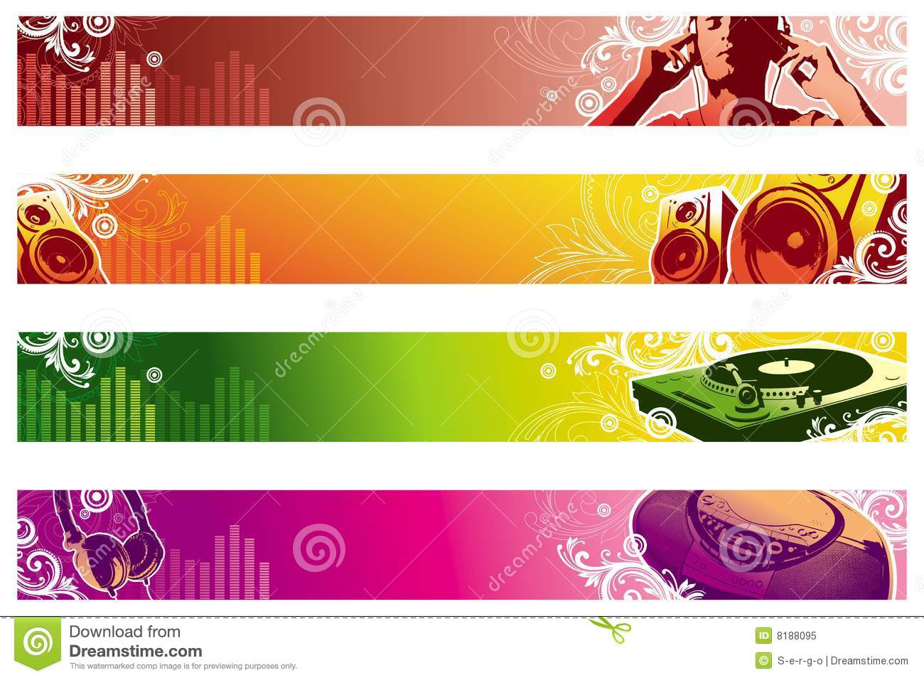 Music Web Banners Royalty Free Stock Photo - Image: 8188095