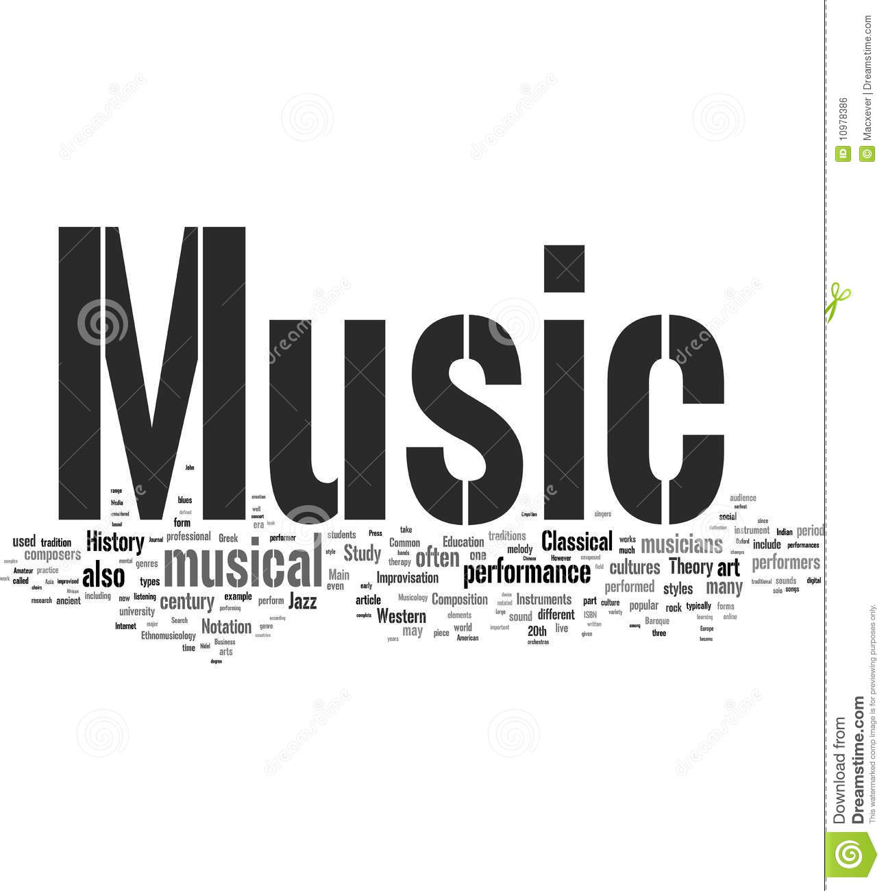 Music: Music Word Collage Royalty Free Stock Image