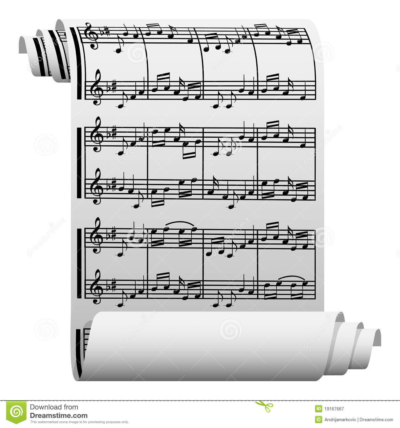 written music paper vector manuscript illustration sheet preview scroll vectorstock similar dreamstime