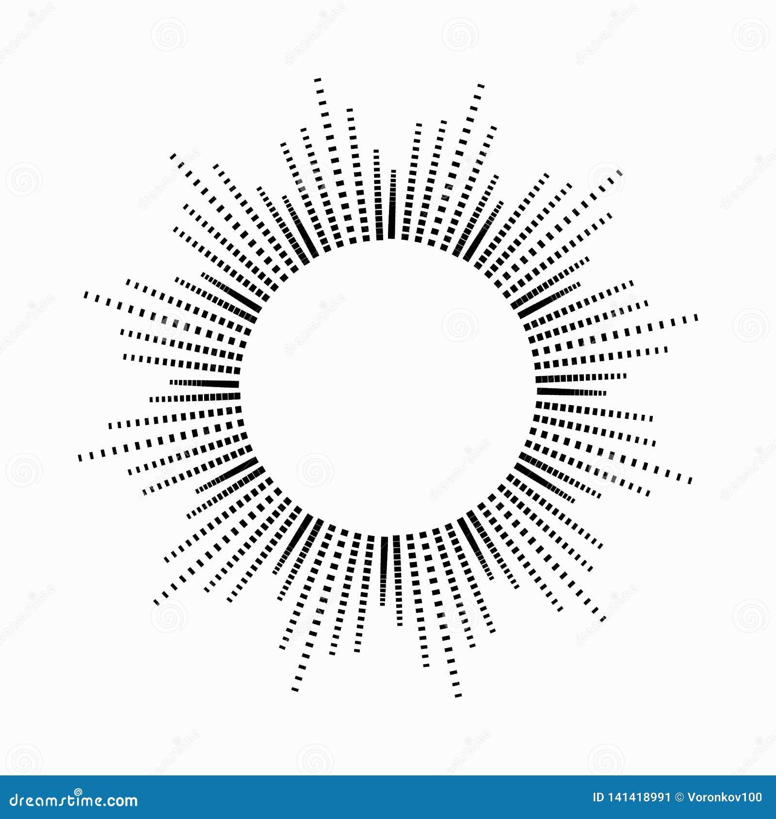 Musica astratta rotonda dell equalizzatore sotto forma del sole con i raggi Simbolo, monocromio, icona Elemento di disegno di vet
