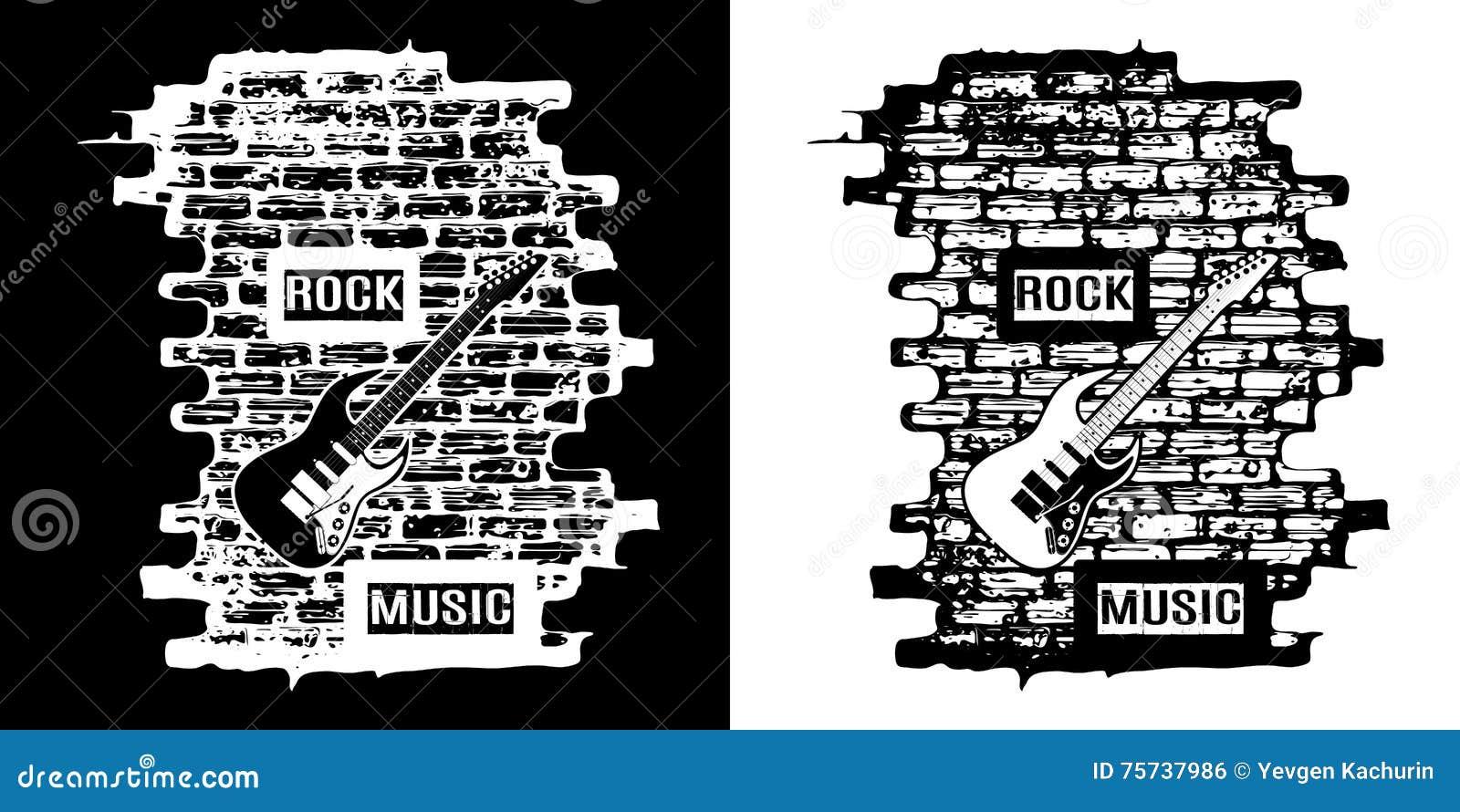 Musica Rock Su Un Fondo Del Mattone In Bianco E Nero Illustrazione