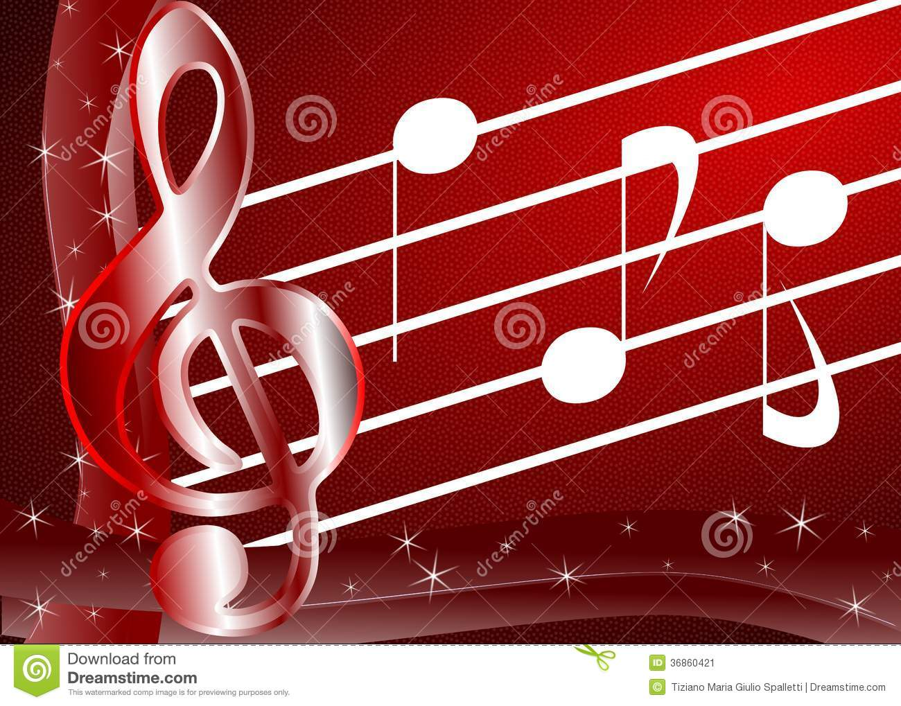 treble clef on abstract red background with notes stock illustration