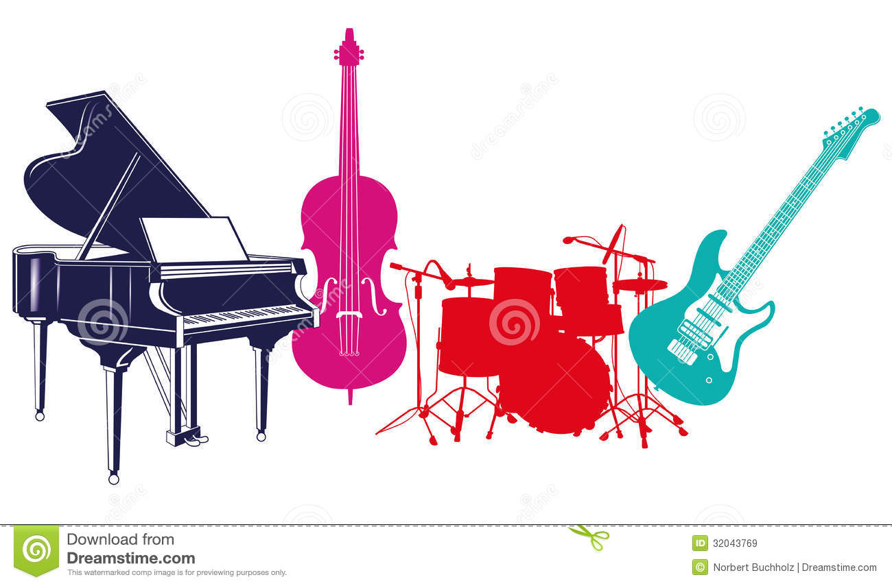 ... instruments, piano, double bass, guitar and drums, white background