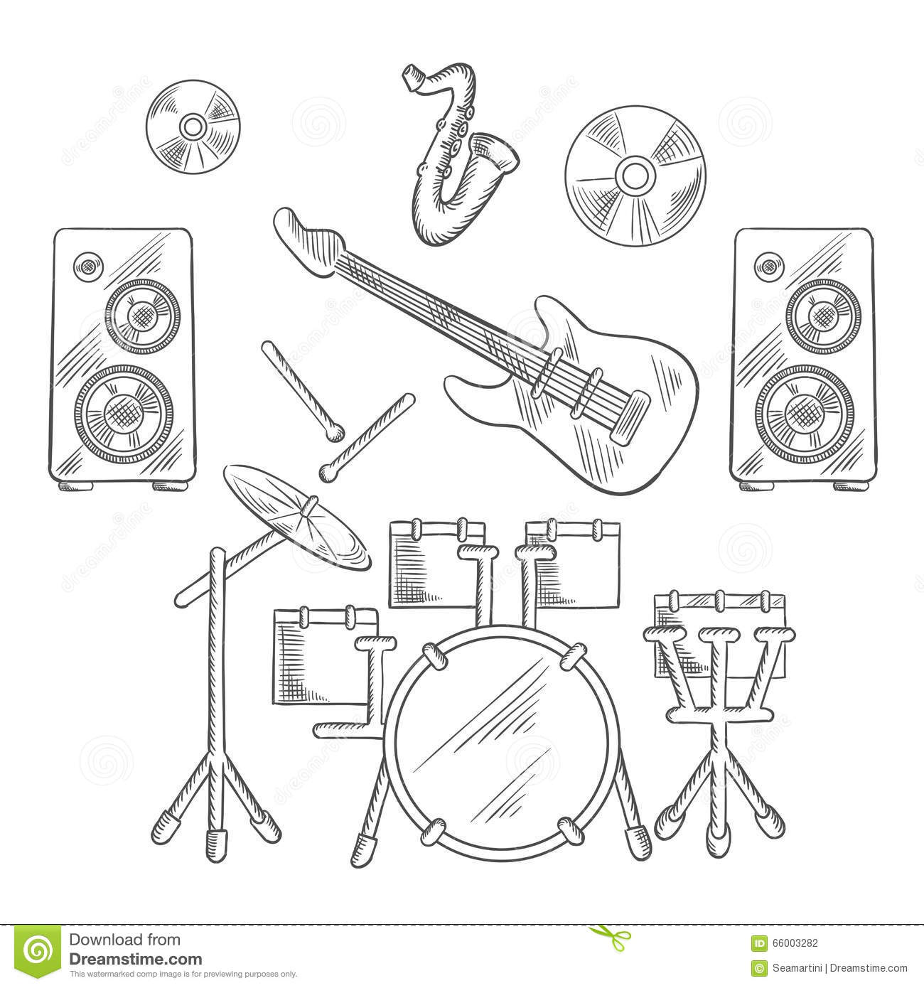 musical band instruments sketches set stock vector
