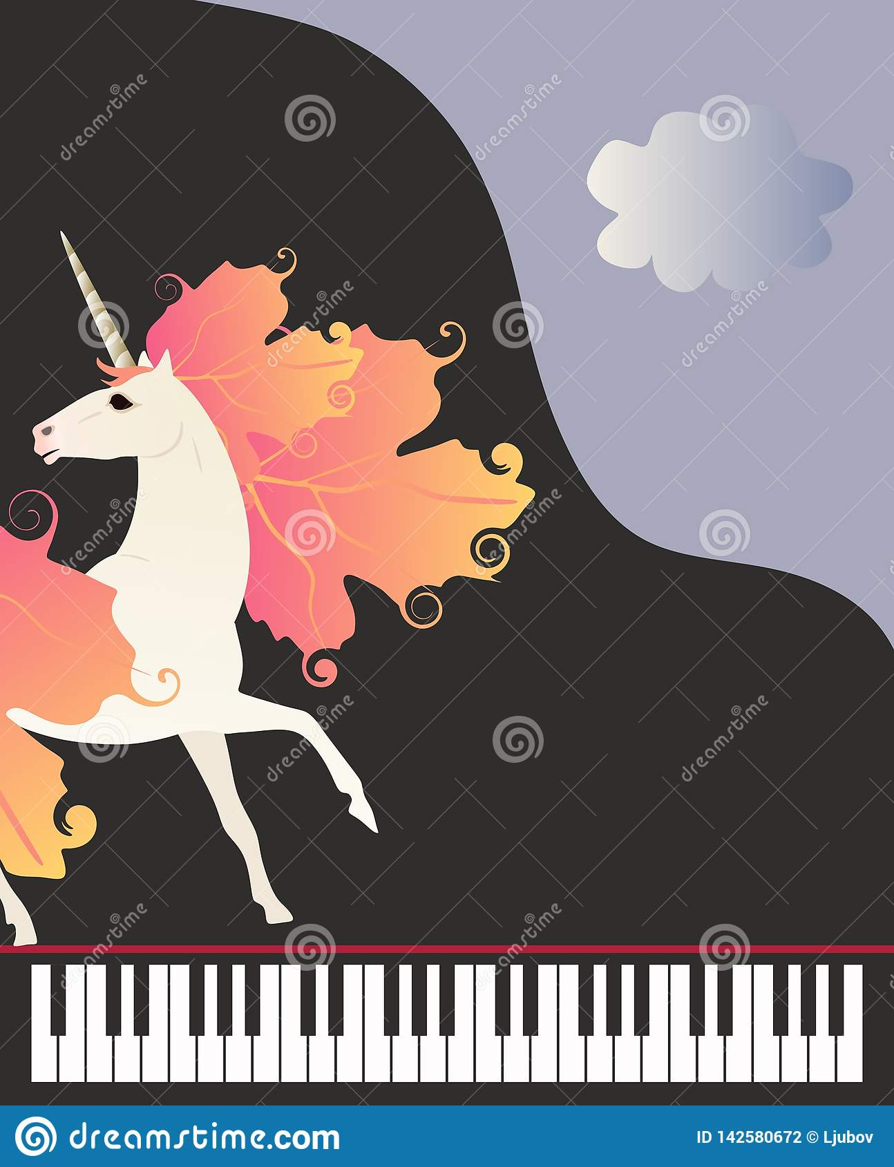 Musical Banner In Vector  Magic Unicorn With Mane In Form Of