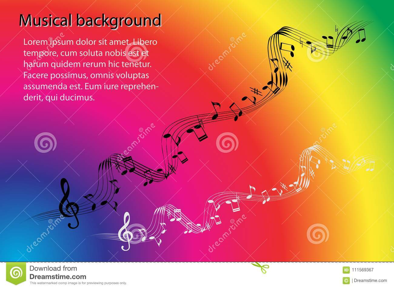 Musical Notes And Treble Clef On An Abstract Rainbow Color ...