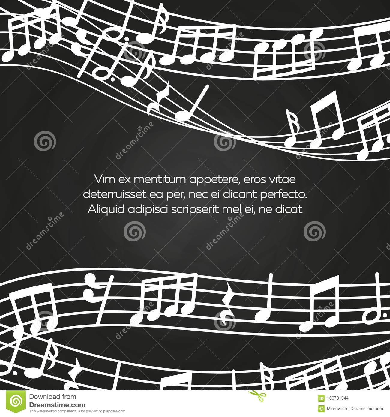 Musical blackboard background design - chalkboard with music notes and waves