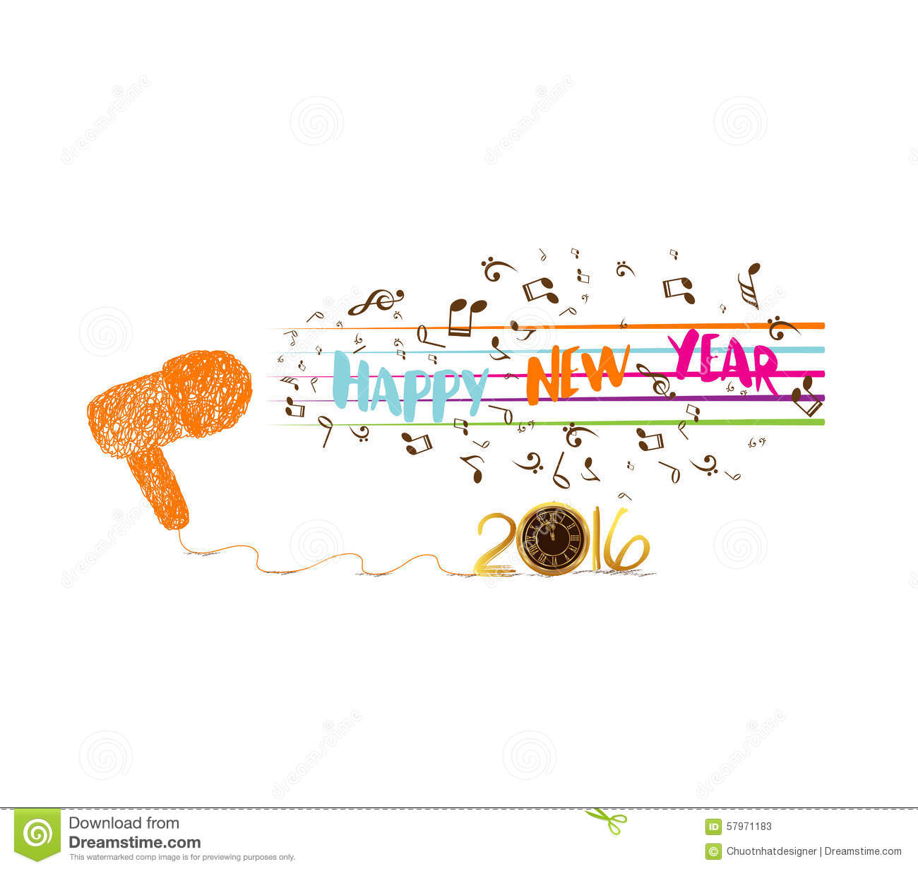 Musical Christmas And Happy New Year 2016 Background 2016 Stock ...