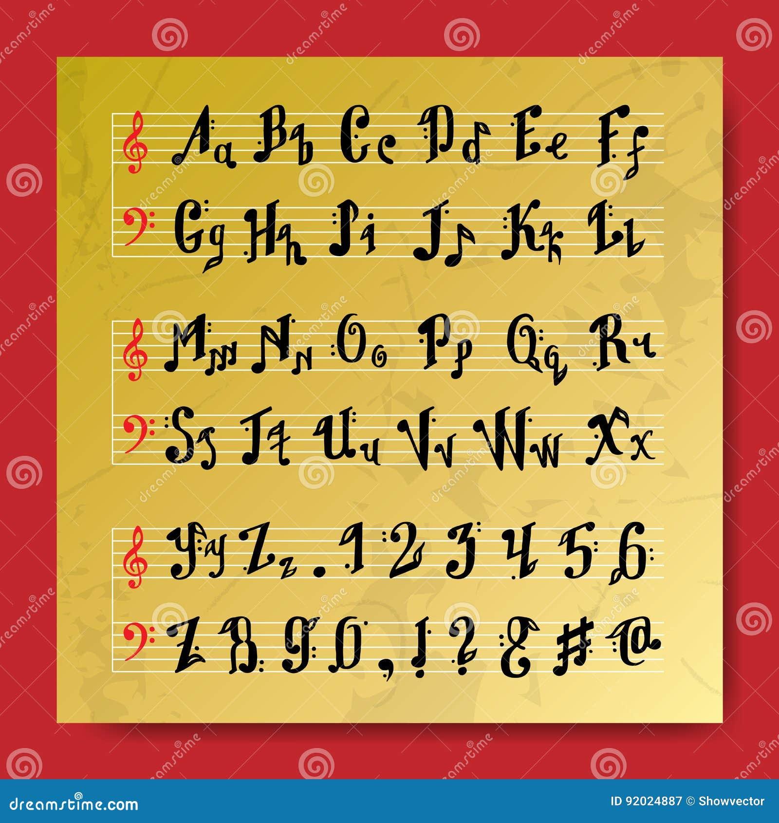Musical Decorative Education Music Notes Alphabet Font