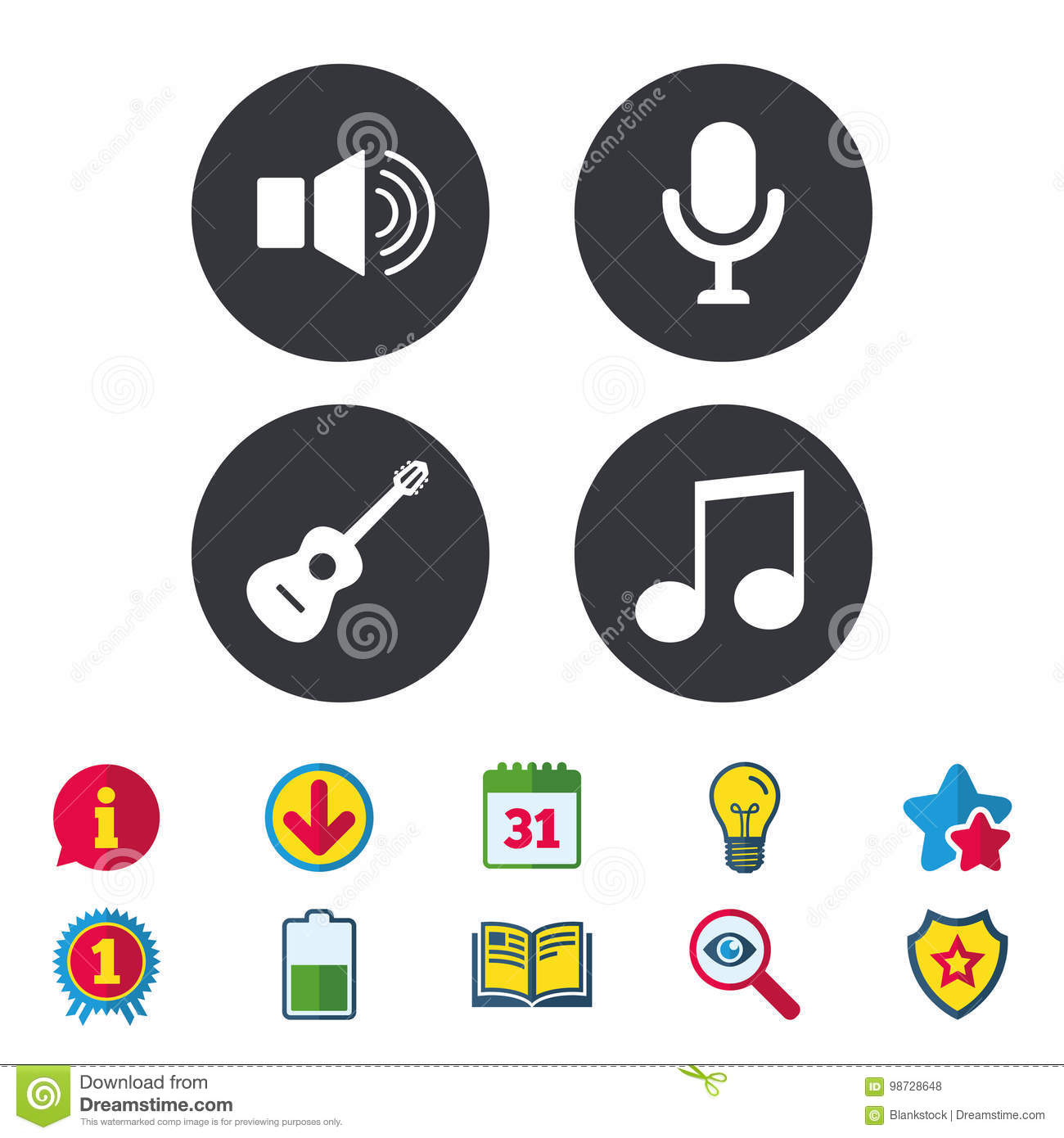 Musical Elements Icon Microphone Sound Speaker Stock Vector