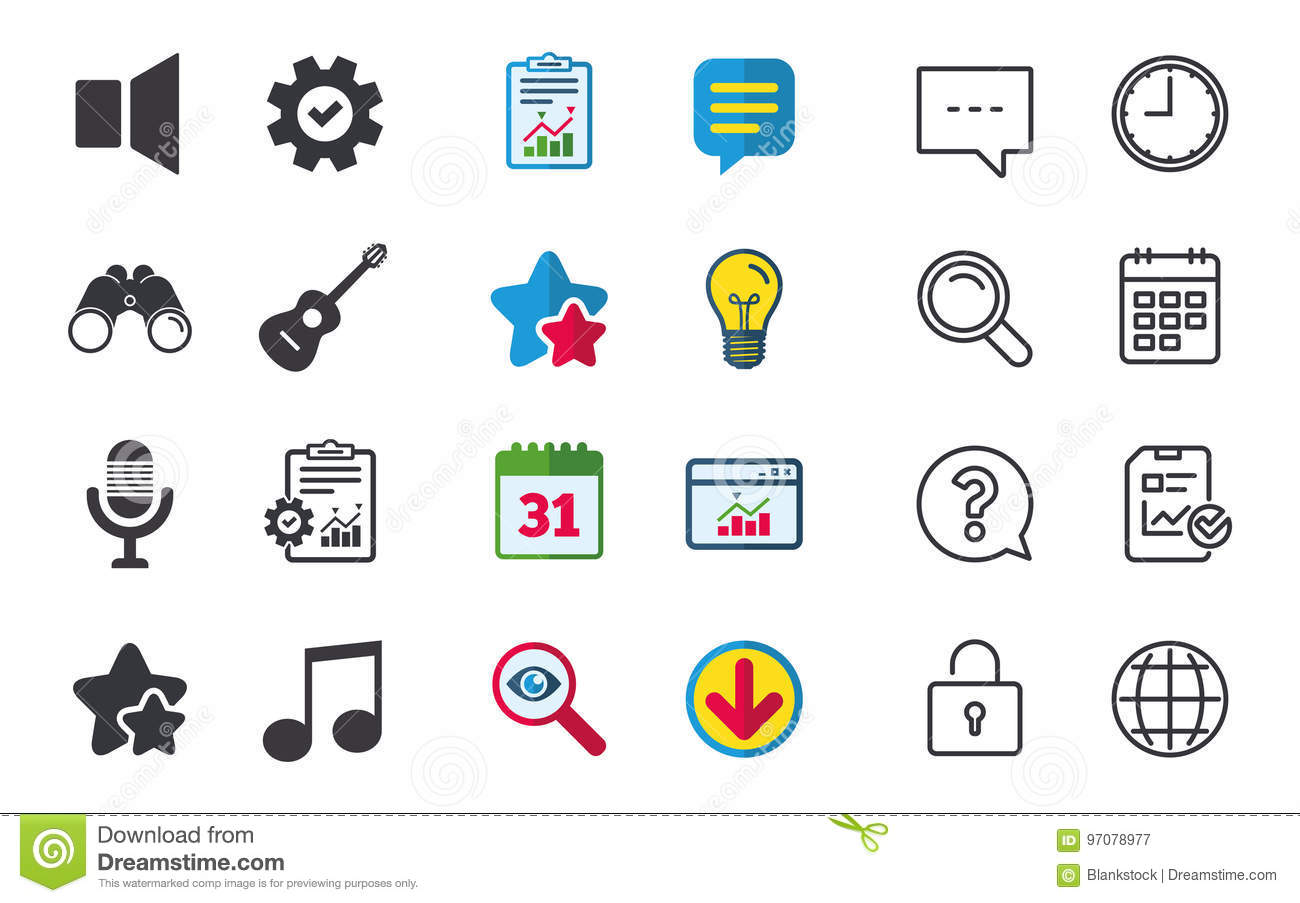 Musical Elements Icon Microphone Sound Speaker Stock Vector Diagram Symbools Of