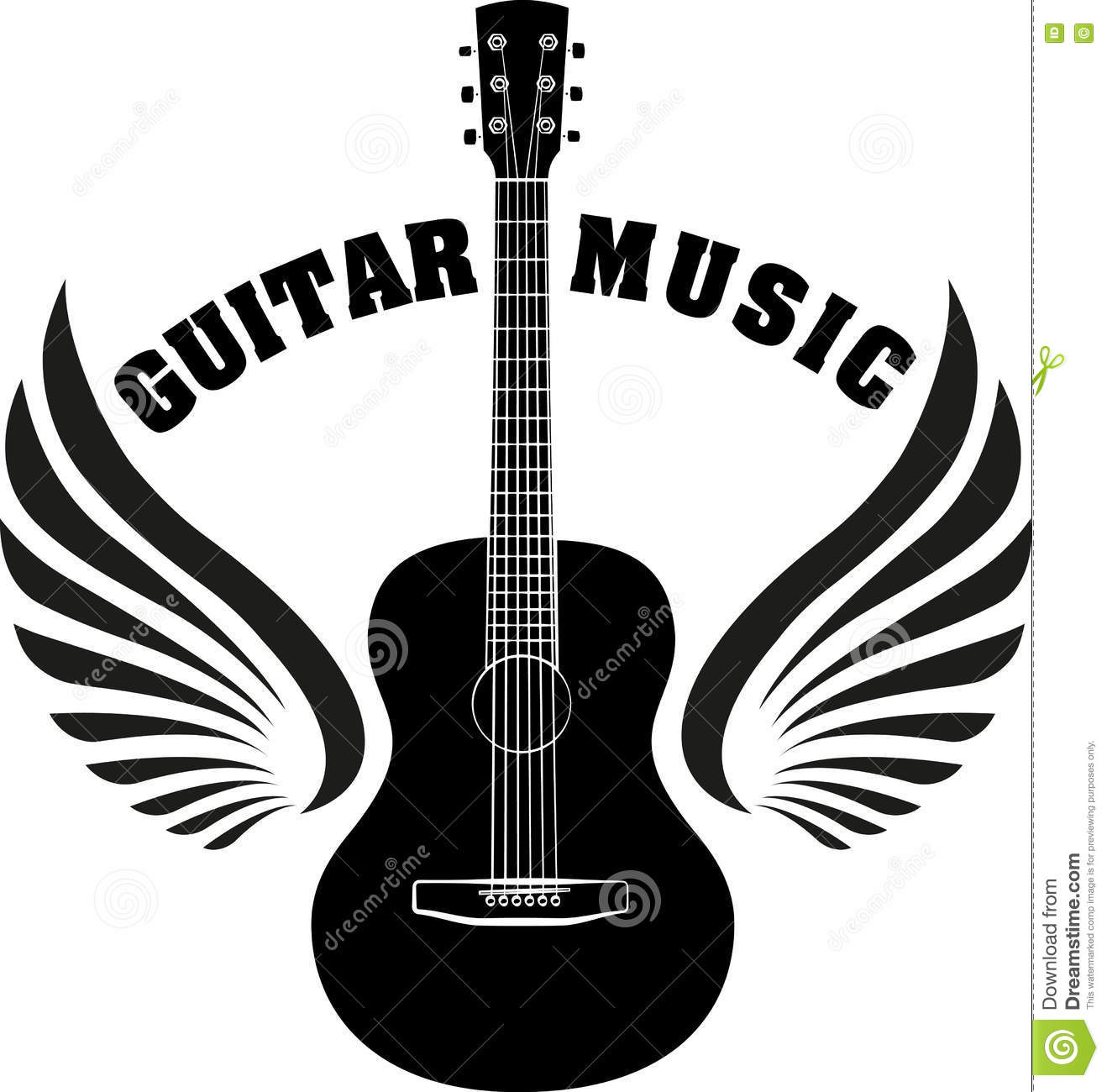 Musical Emblem With Wings, Fire And Caption Guitar Music Stock