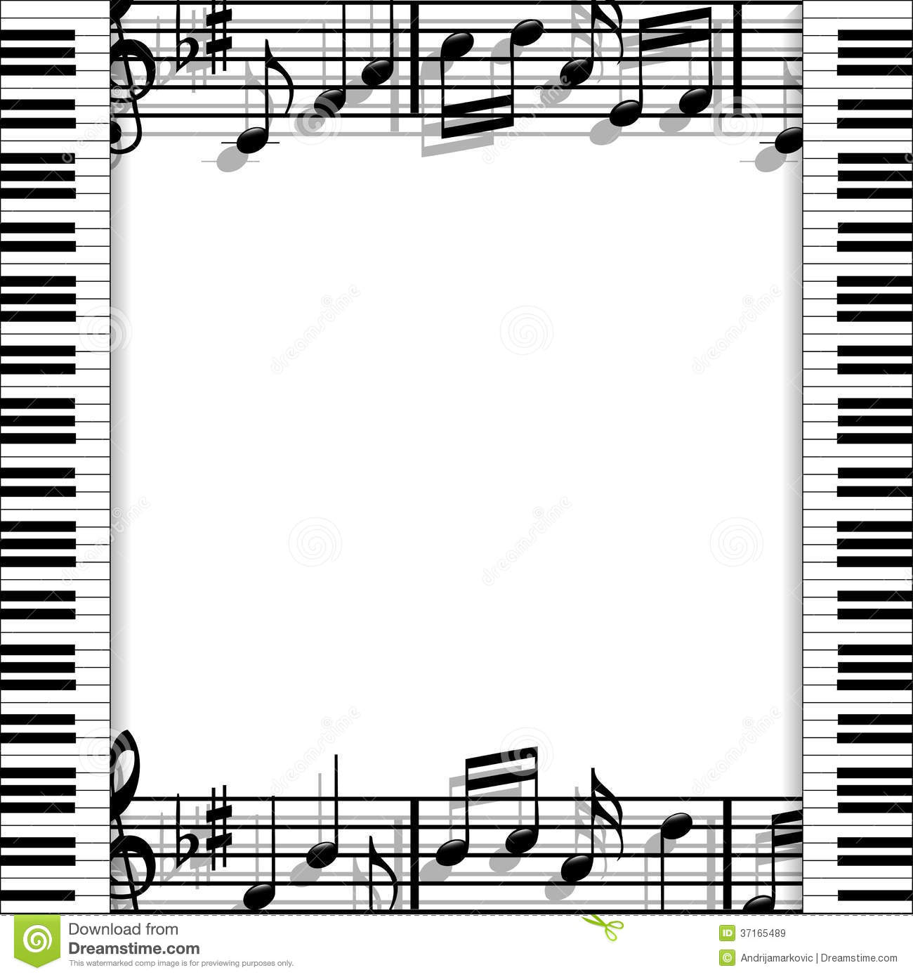 Illustration of a music frame with keyboards and musical notes on a