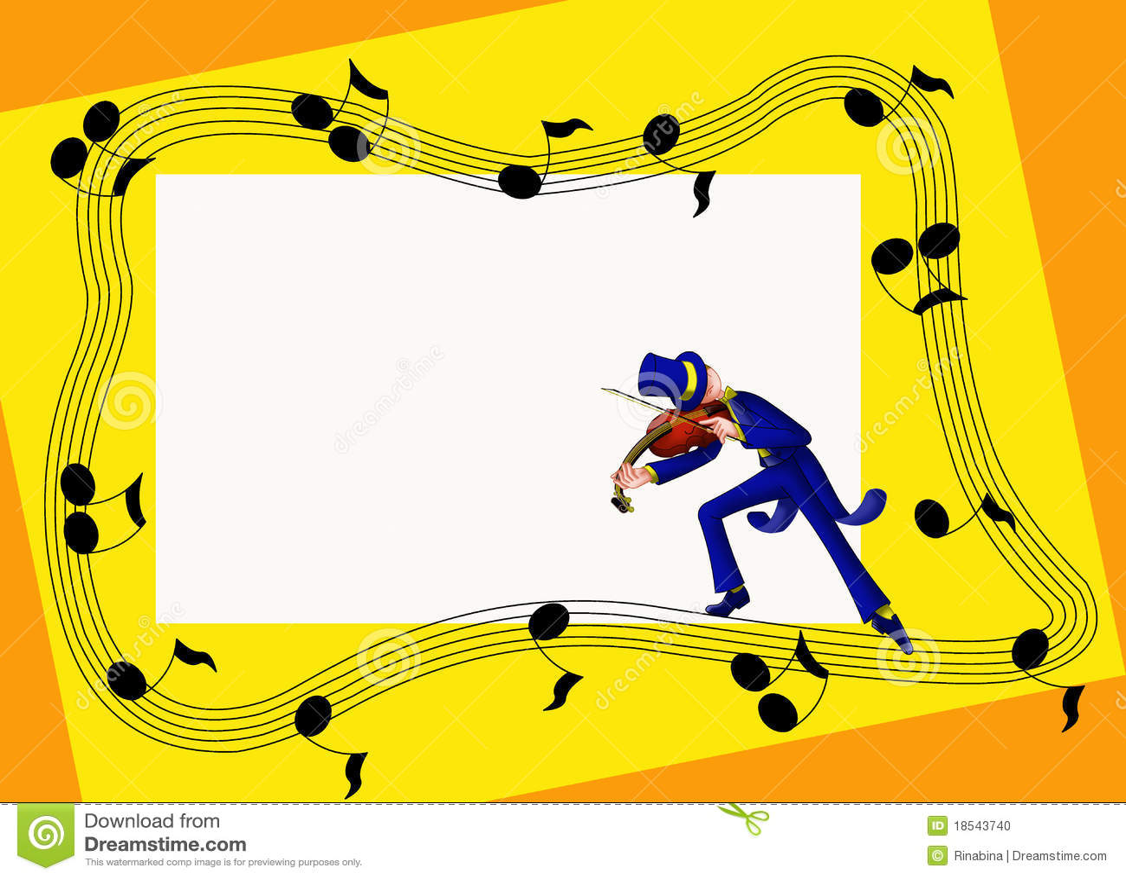 Musical Frame With Violinist Stock Illustration - Illustration of ...
