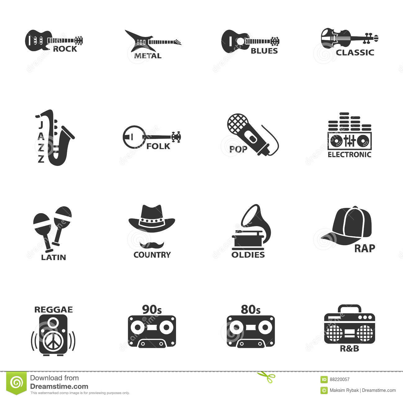 Musical genre web icons stock vector  Illustration of