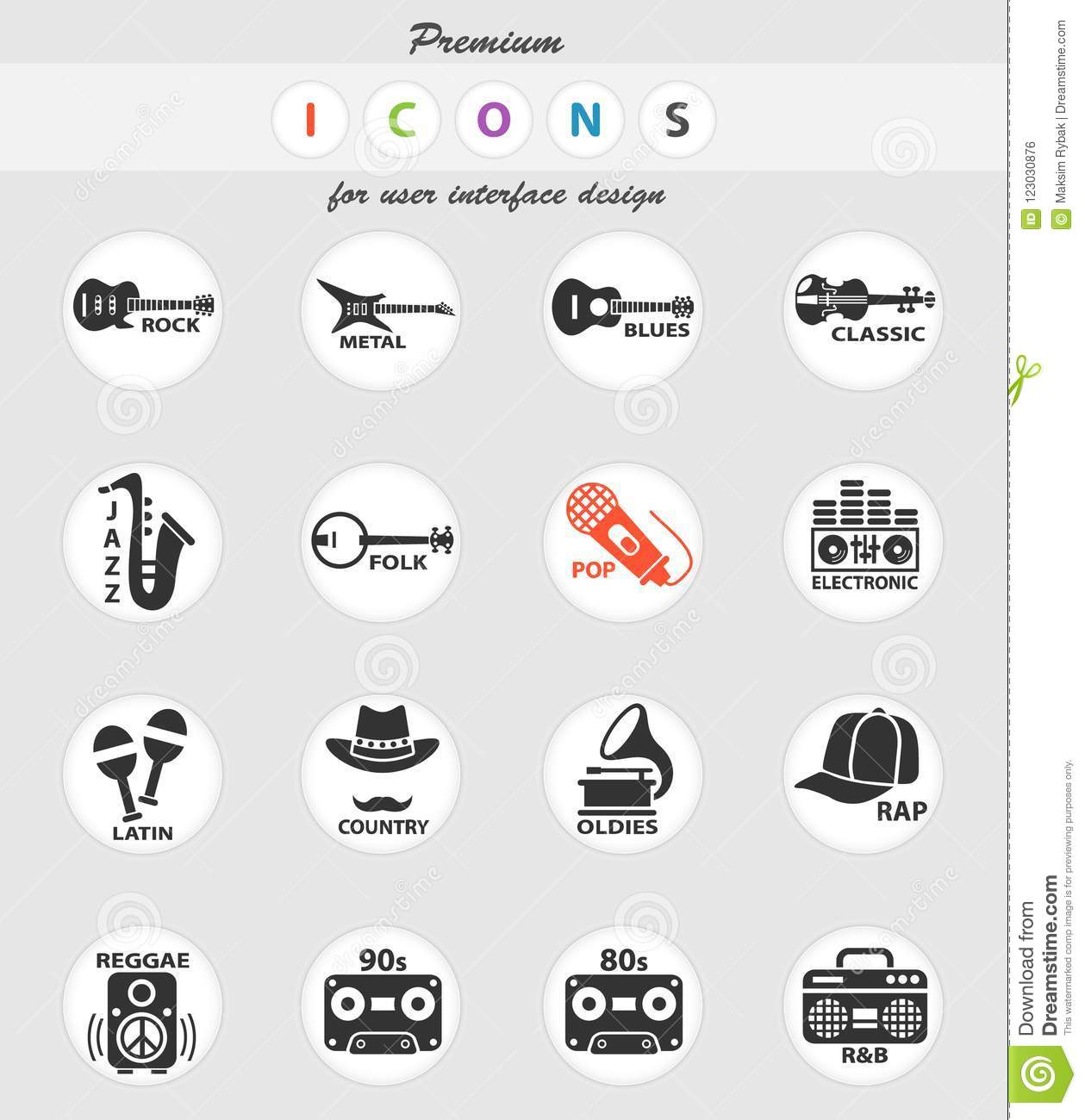 Musical genre web icons stock vector  Illustration of music - 123030876