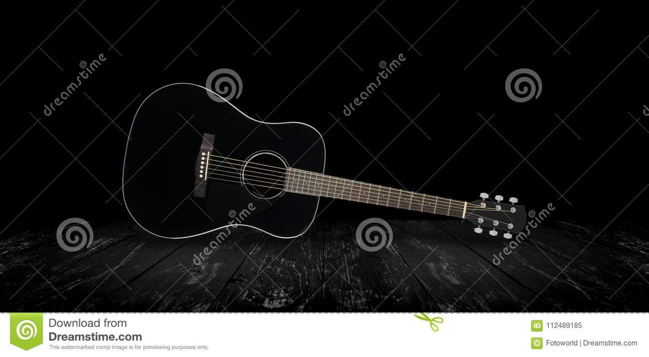 Musical Instrument Black Acoustic Guitar Black Background Stock