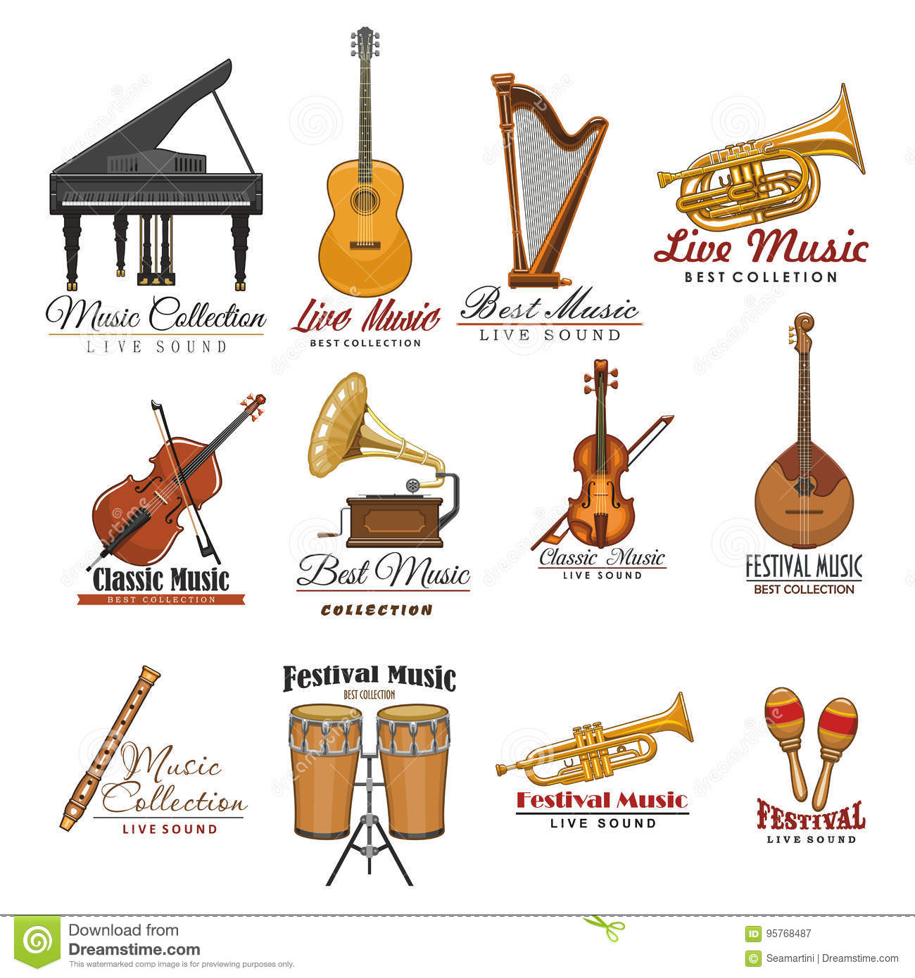 Musical Instrument Symbol Set For Music Design Stock Vector