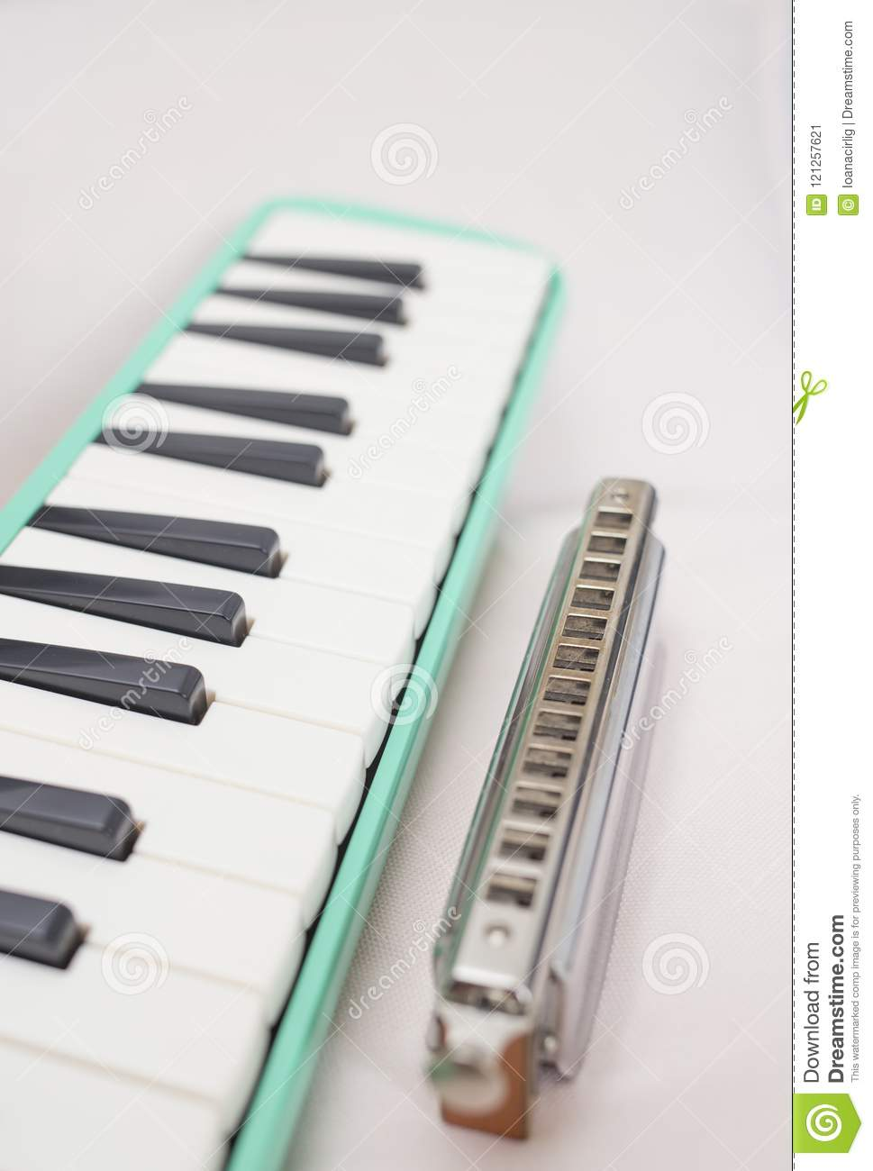 Chromatic Harmonica And Melodion Stock Image - Image of folk