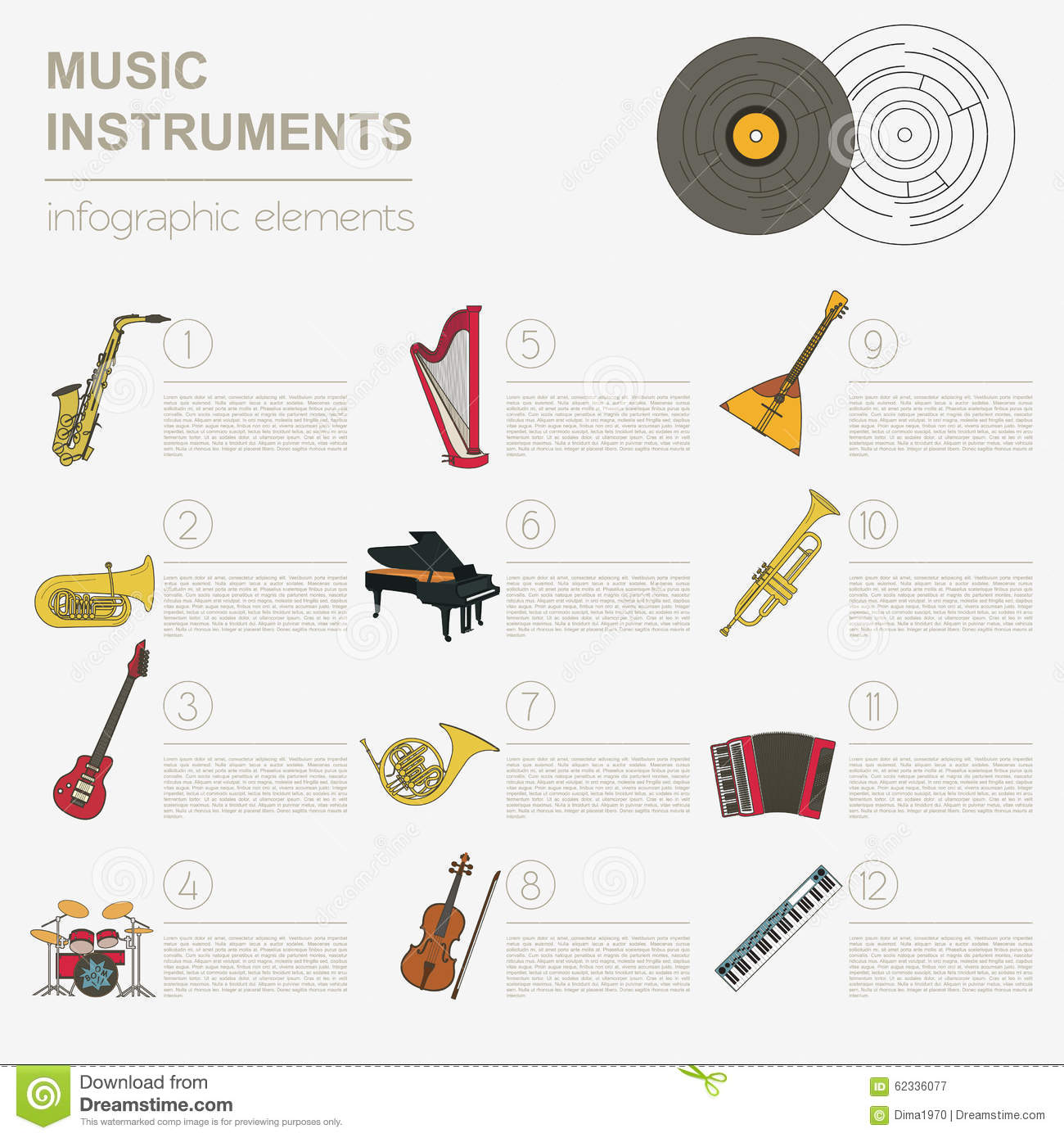 Worksheets Types Of Musical Instrument musical instruments graphic template all types of instr royalty free stock photography