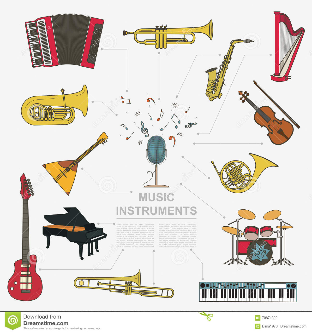 Musical Instruments Graphic Template. All Types Of Musical Instr ...