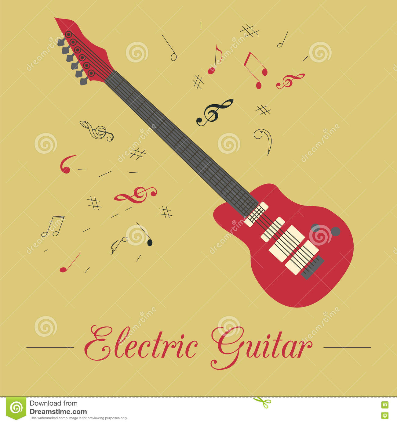 Musical Instruments Graphic Template Electric Guitar Stock Vector