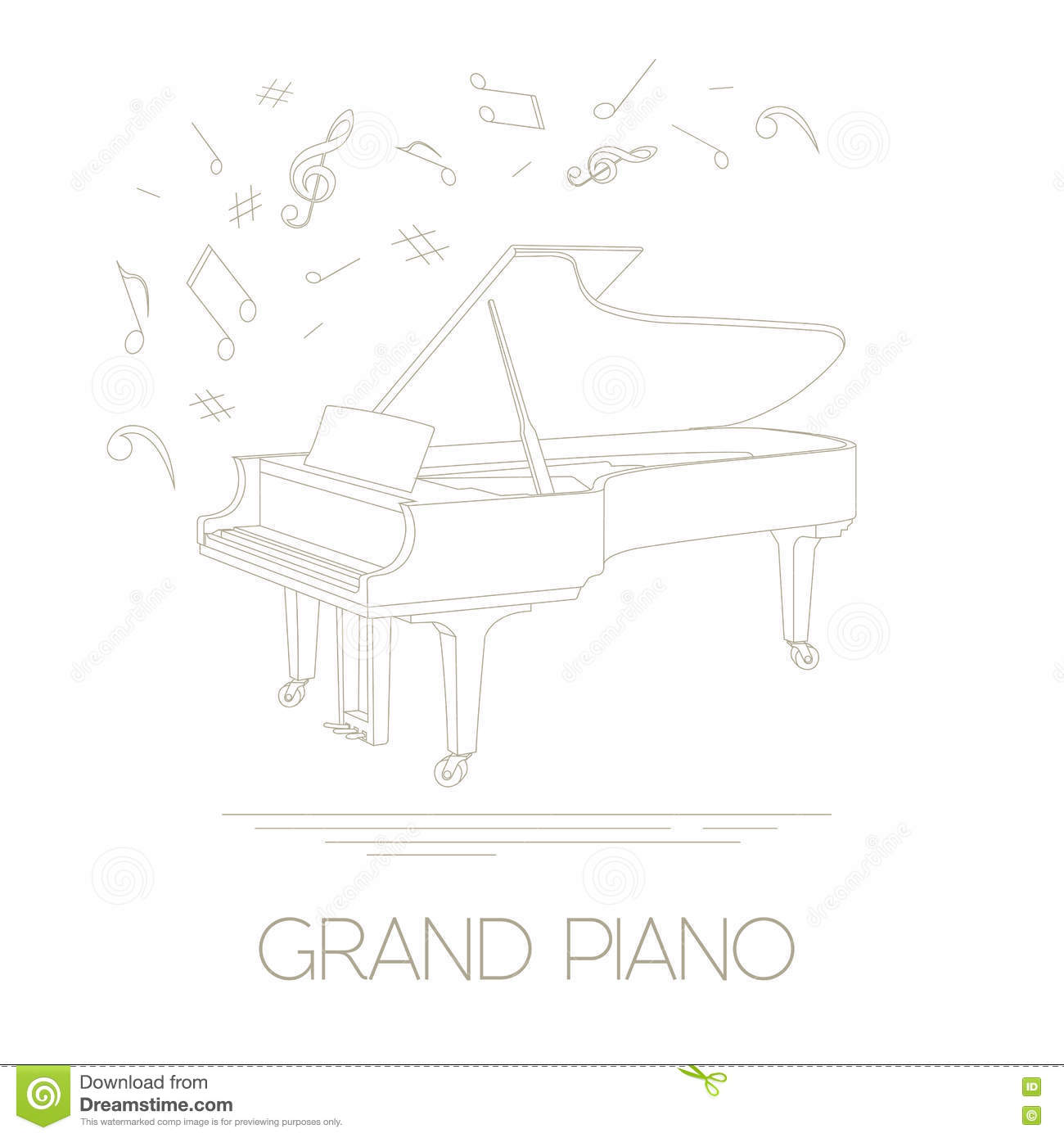musical instruments graphic template grand piano stock vector