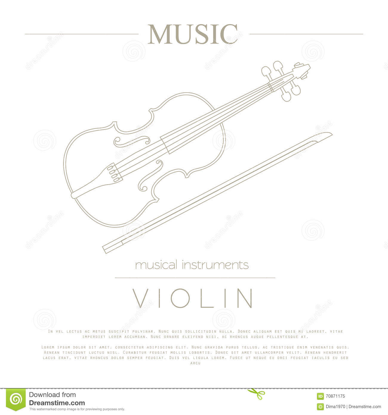 musical instruments graphic template violin stock vector