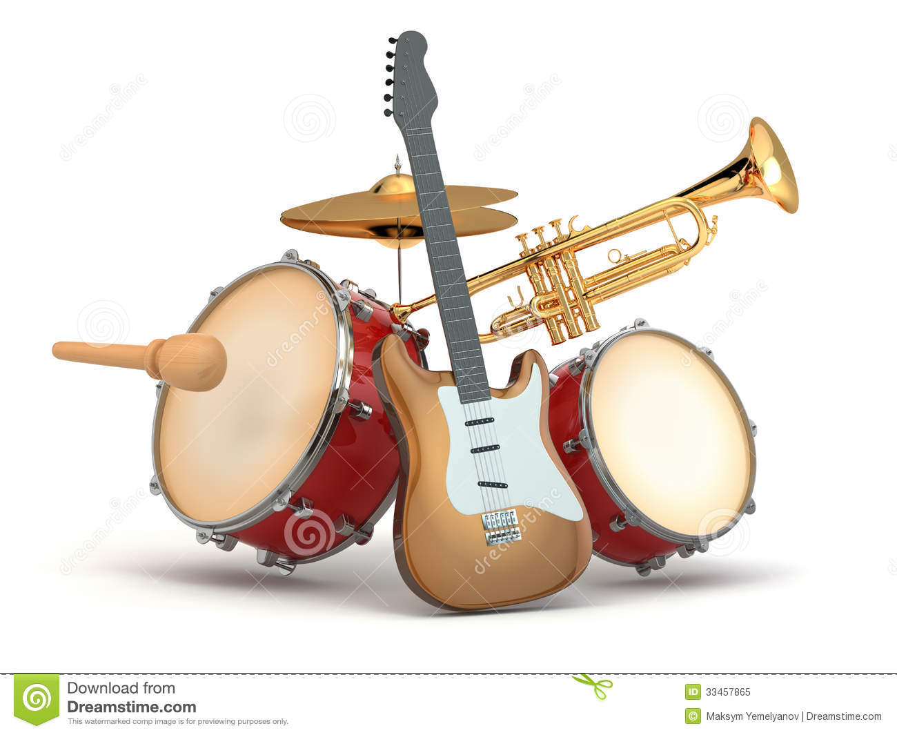 Musical Instruments Guitar Drums And Trumpet Royalty