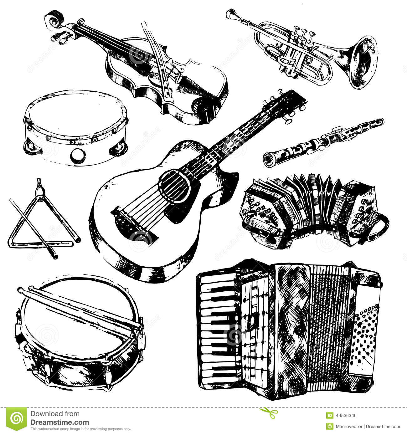 Musical Instruments Icons Set Stock Vector Image 44536340