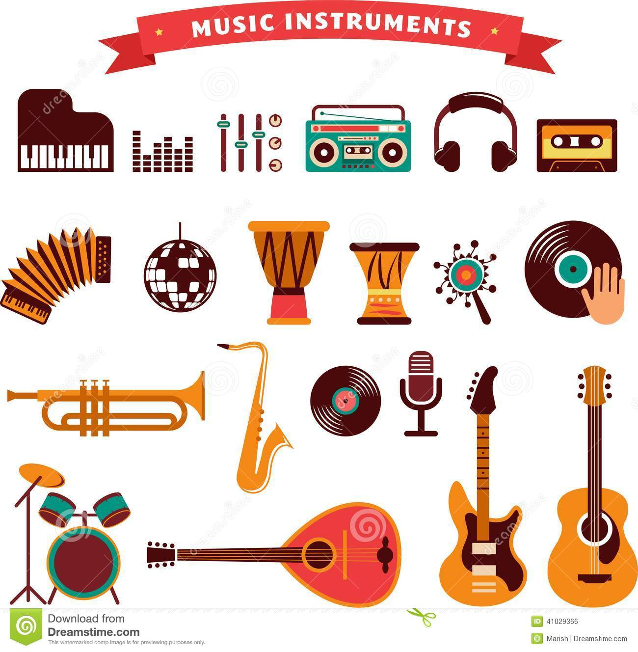 musical instruments icons set stock vector image 41029366 head phone vector image headphone vector logo