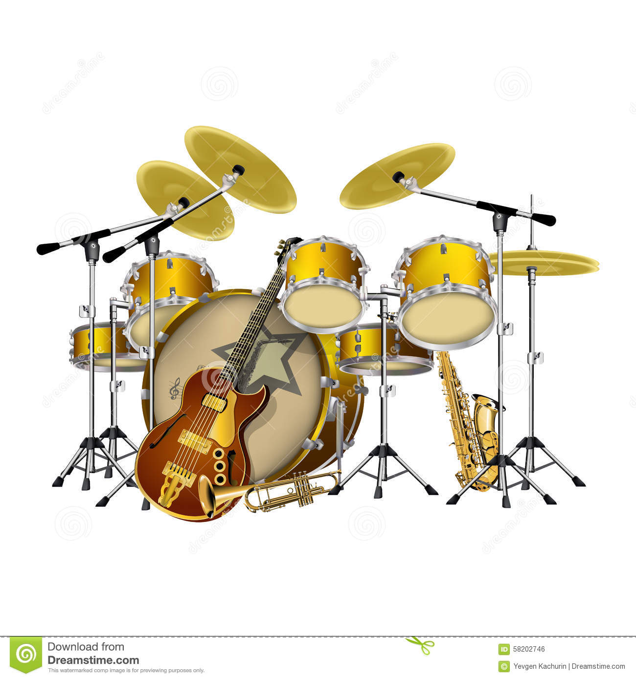 jazz instruments illustration the image kid has it. Black Bedroom Furniture Sets. Home Design Ideas