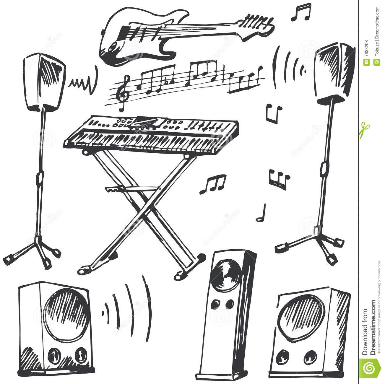 musical instruments and loudspeakers doodles royalty free