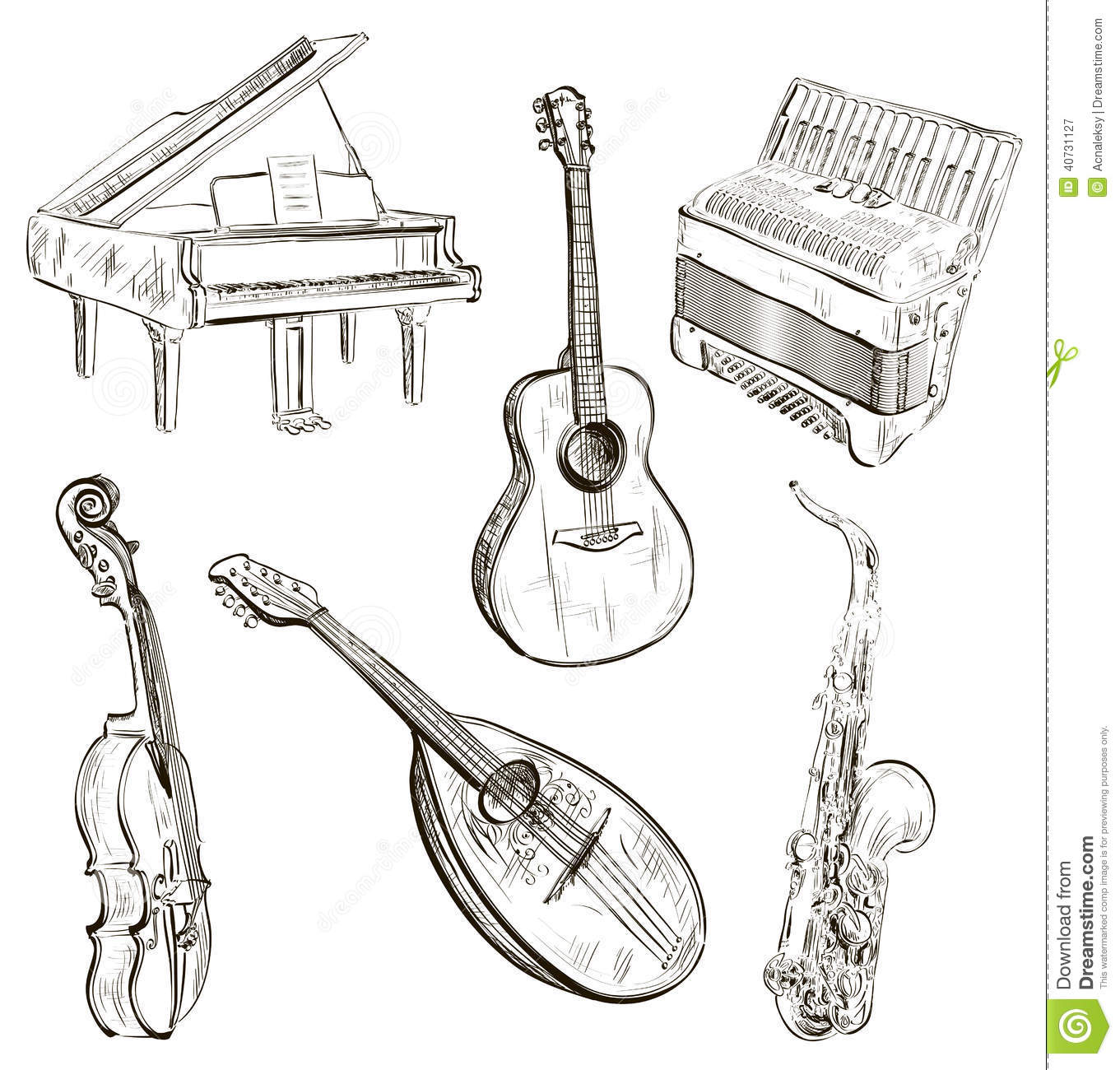 Musical Instruments In Sketch-style Stock Vector