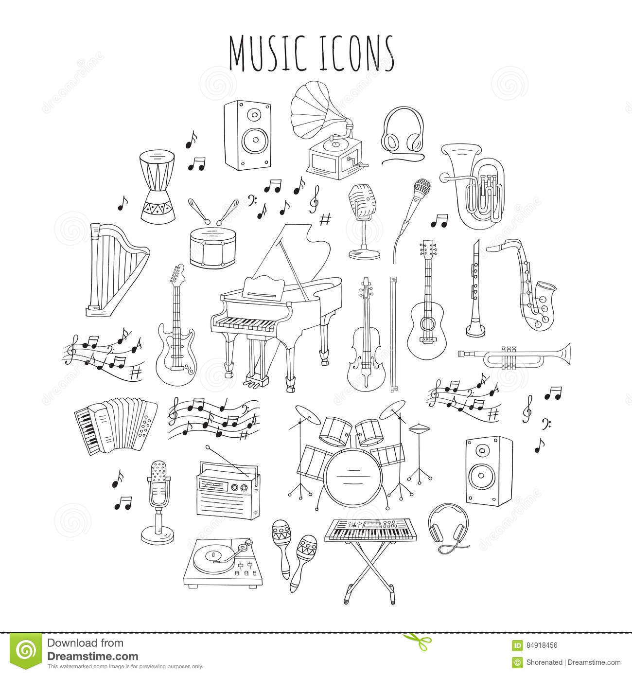 Musical instruments and symbols stock vector illustration of musical instruments and symbols drum doodle biocorpaavc Gallery