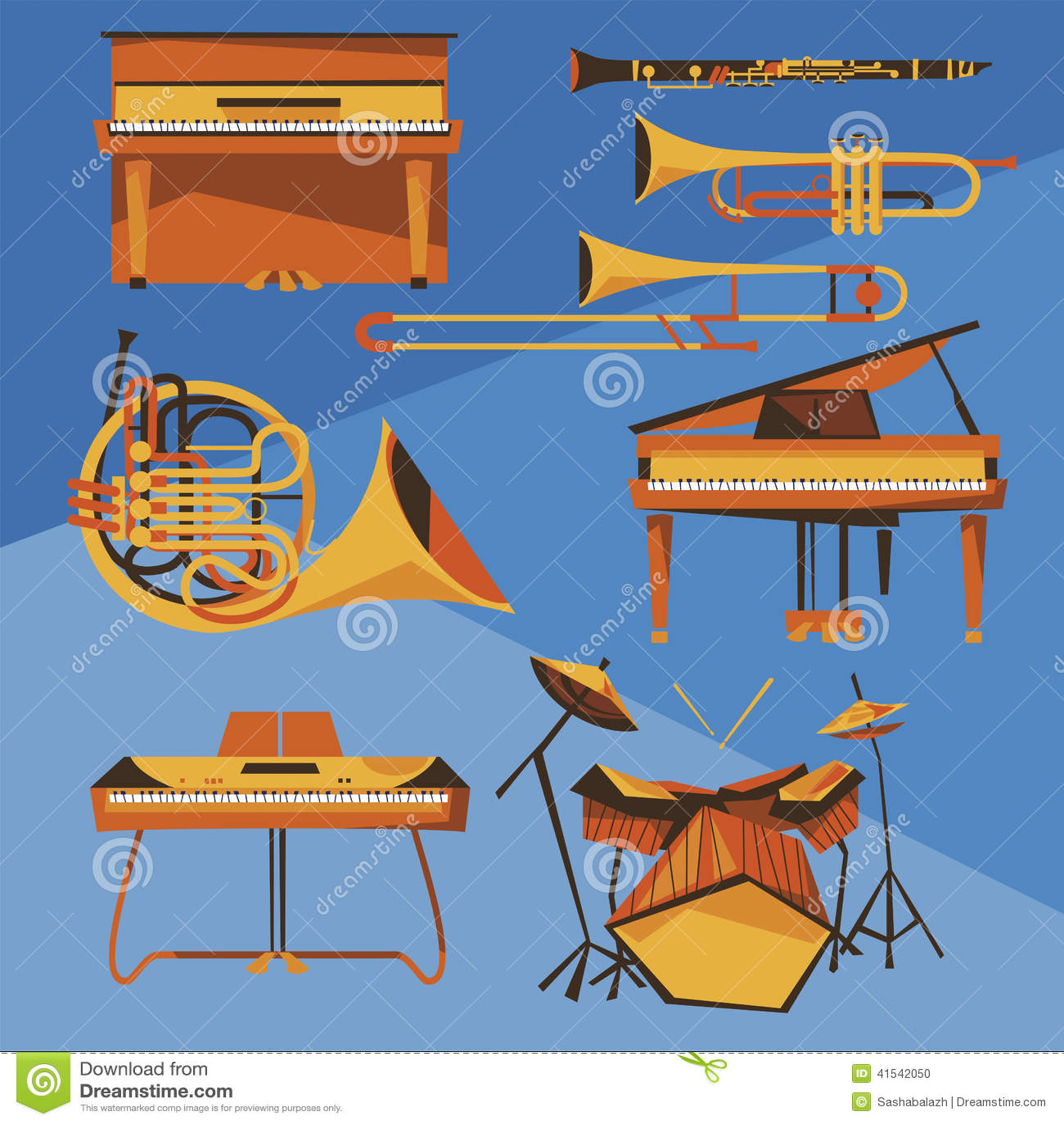 Cartoon Trombone Musical Instruments Ve...