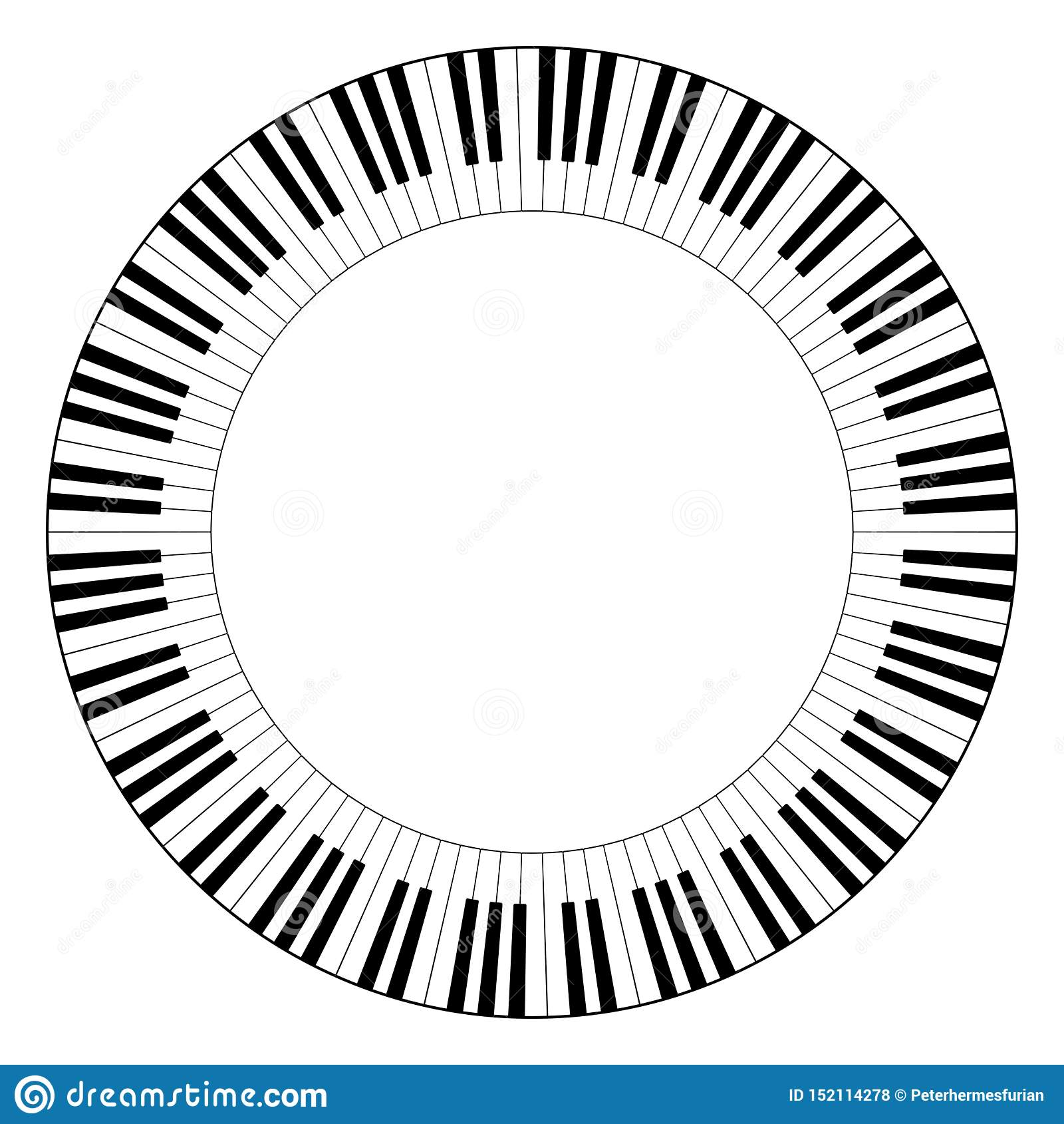 Musical keyboard circle frame
