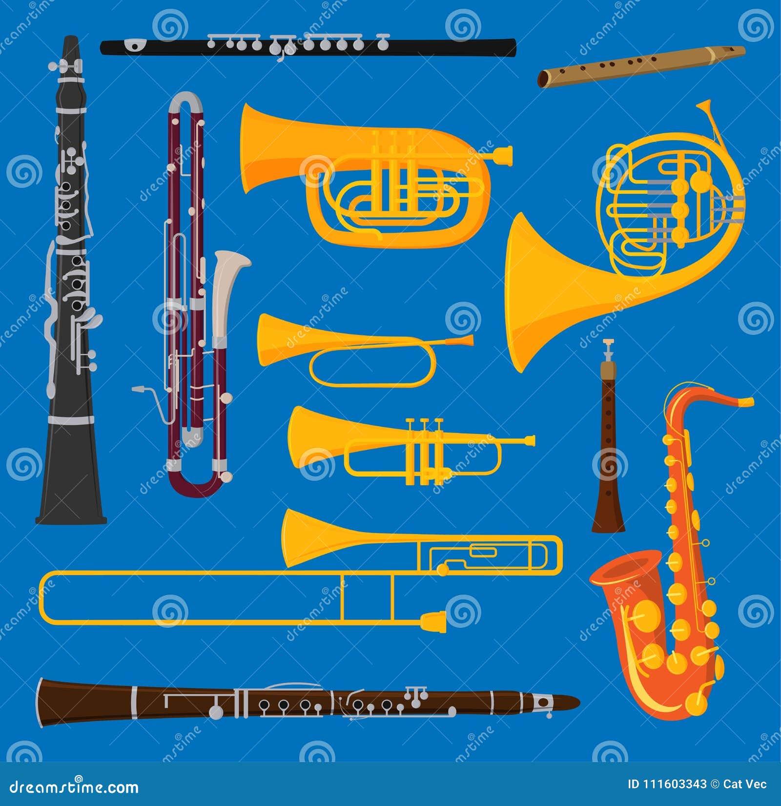 Musical lotniczej tubki mosiężnych instrumentów wiatrowy wektor odizolowywający na tło ciosu trąbienia muzyka pracownianym akusty