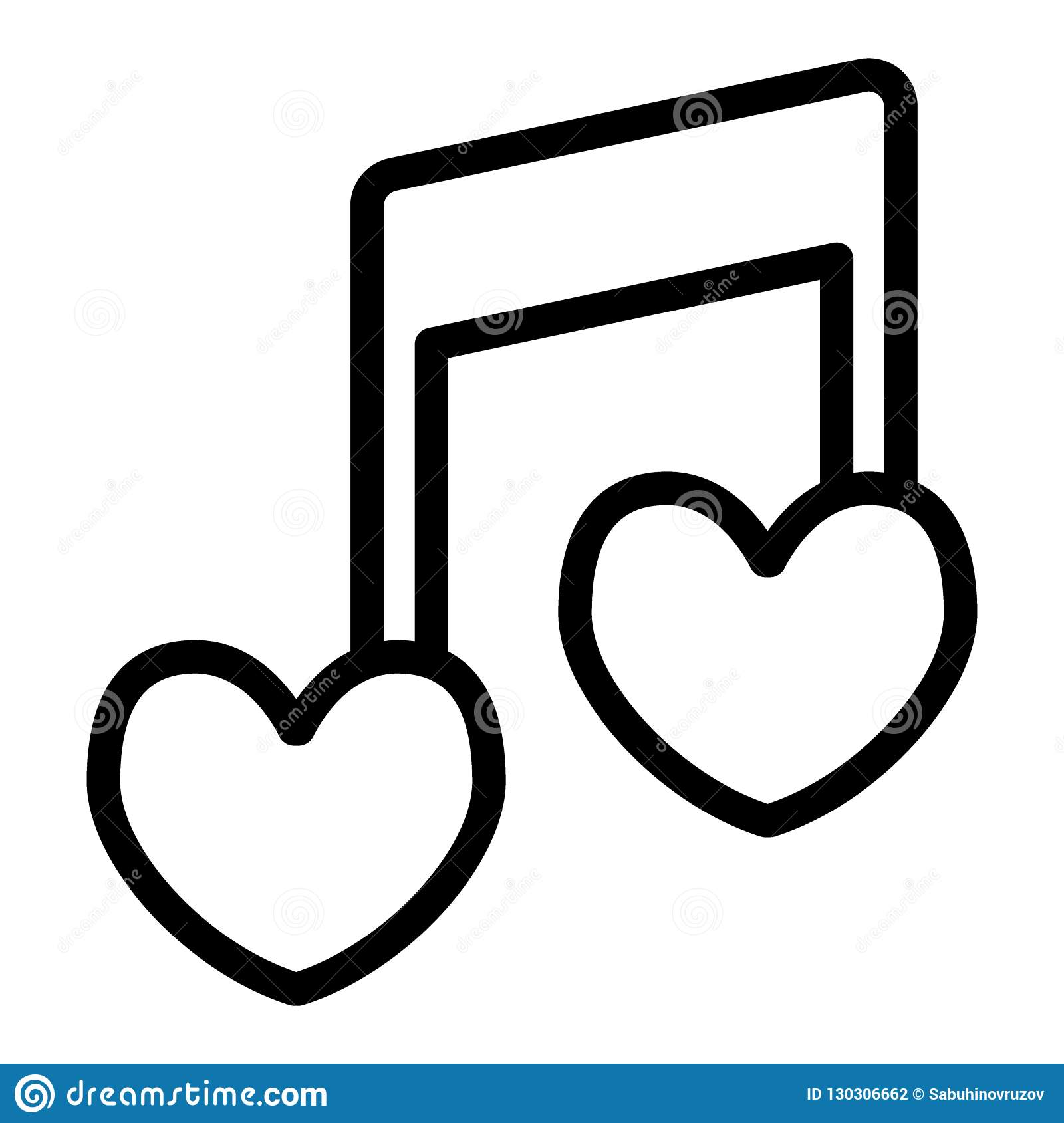 musical note heart shape line icon love song vector illustration