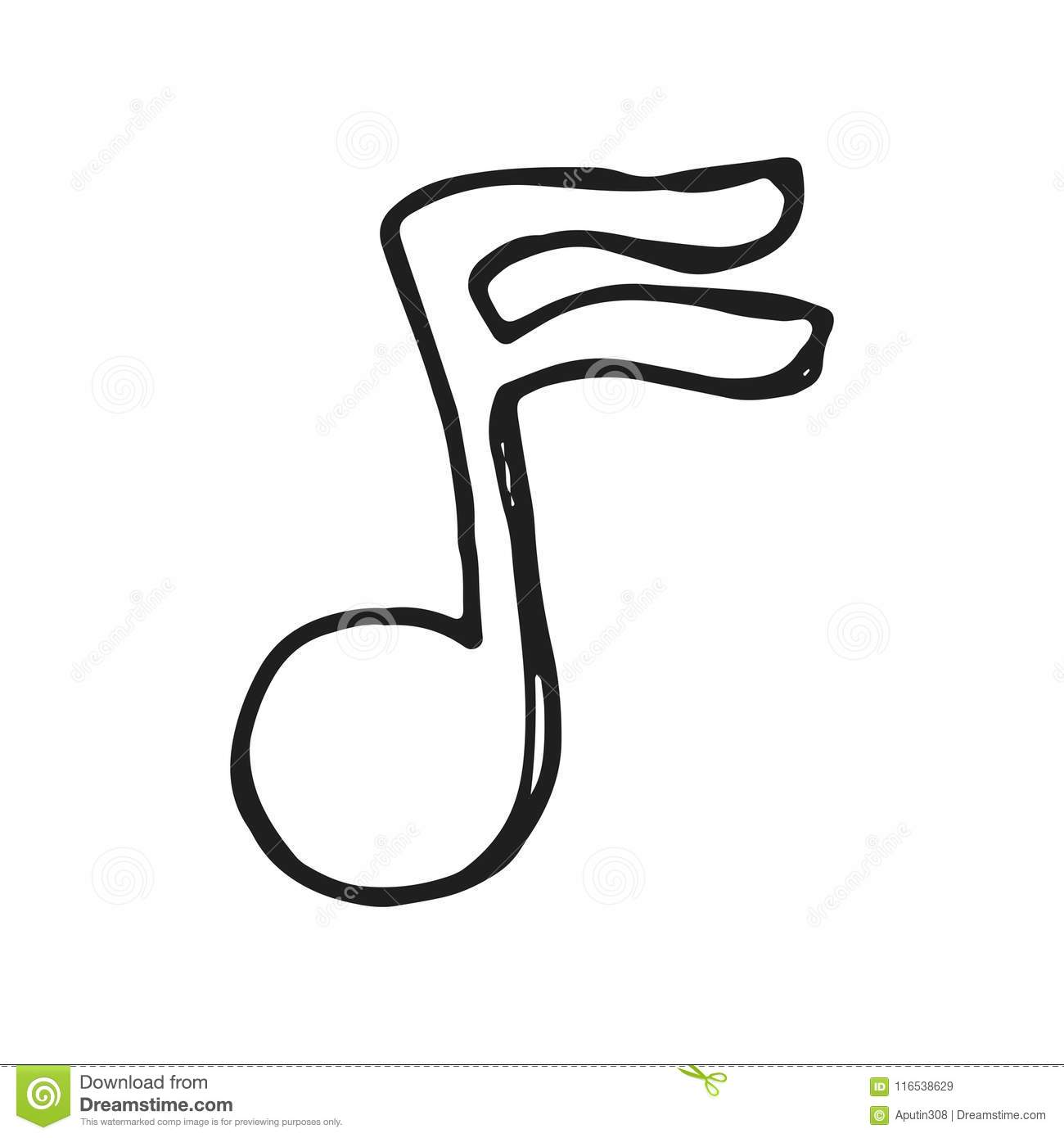 Musical note icon vector sketch isolated stock vector