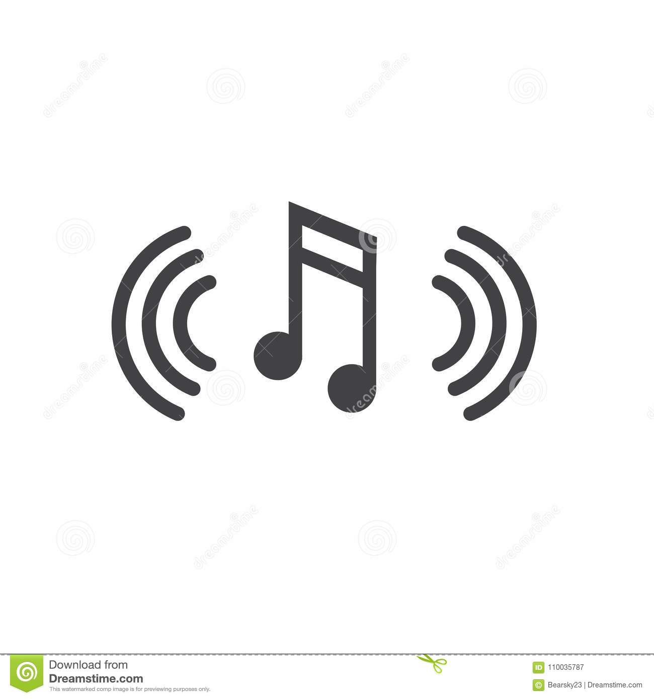 Musical Note With Sound Wave Icon Denoting Music Soundwave