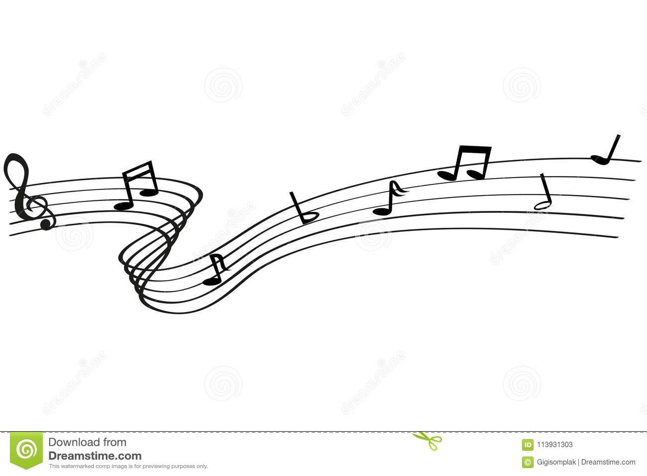 Musical Note Waving Line For Your Element Design At Transparent
