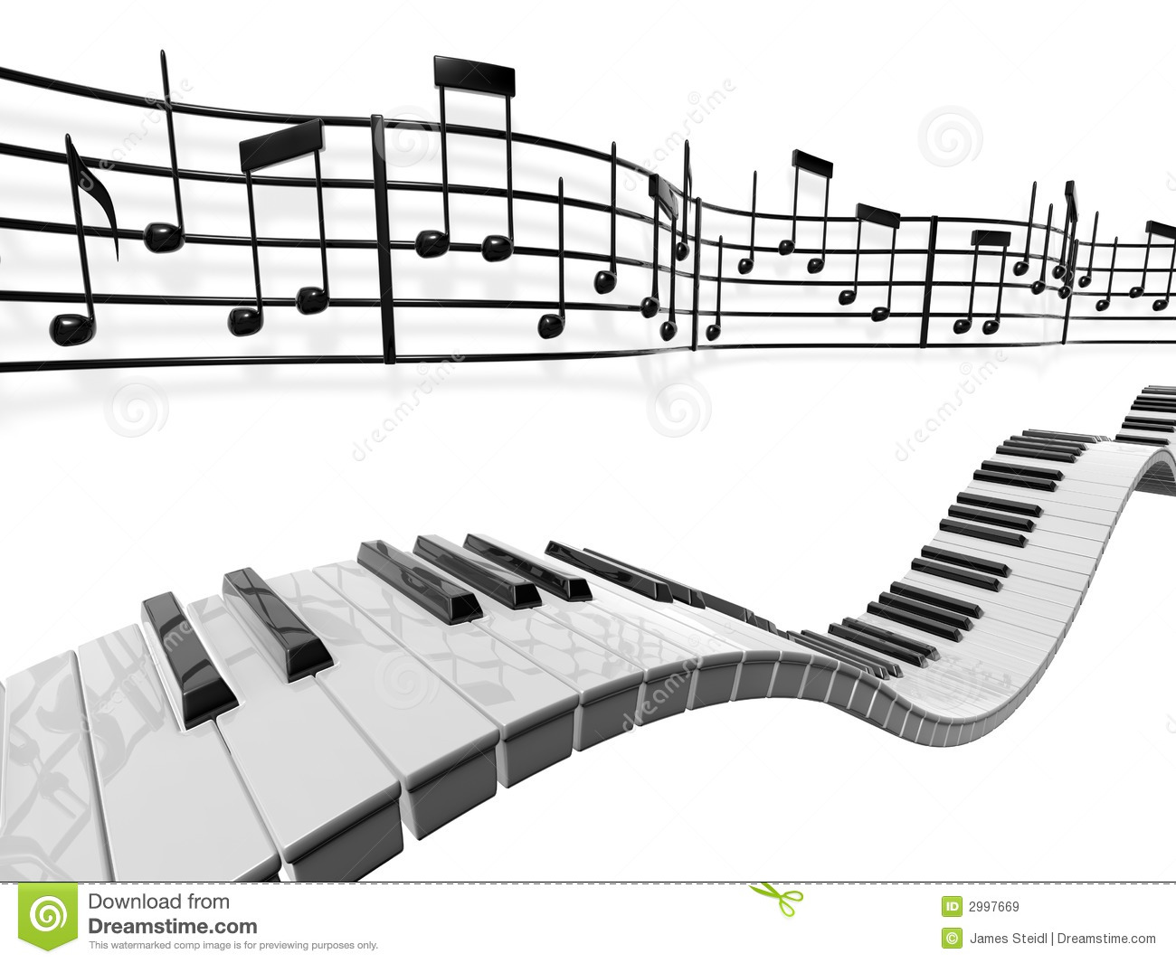 musical score waving and bending behind some piano keys over a white ...