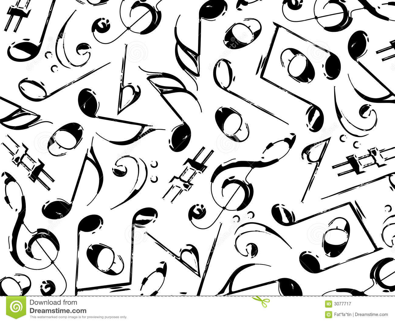Musical Notes Black On White
