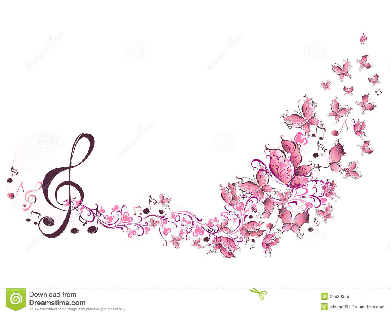 Musical Notes With Butterflies Royalty Free Stock Images