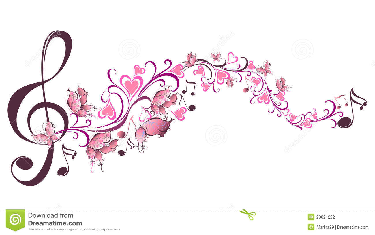 Musical Notes With Butterflies Stock Photography - Image: 28821222