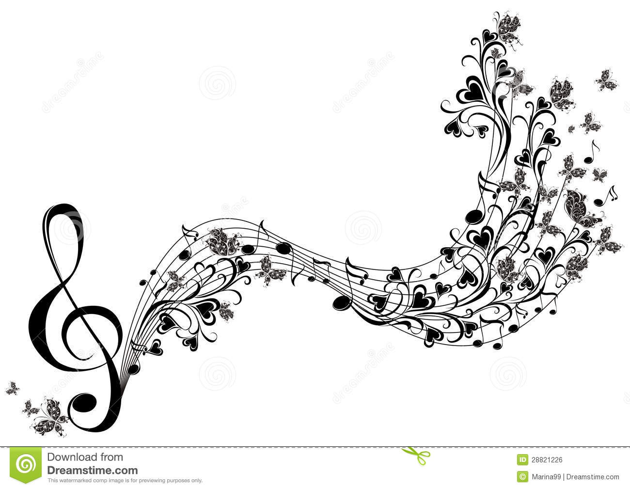 Musical Notes With Butterflies Royalty Free Stock Image - Image ...