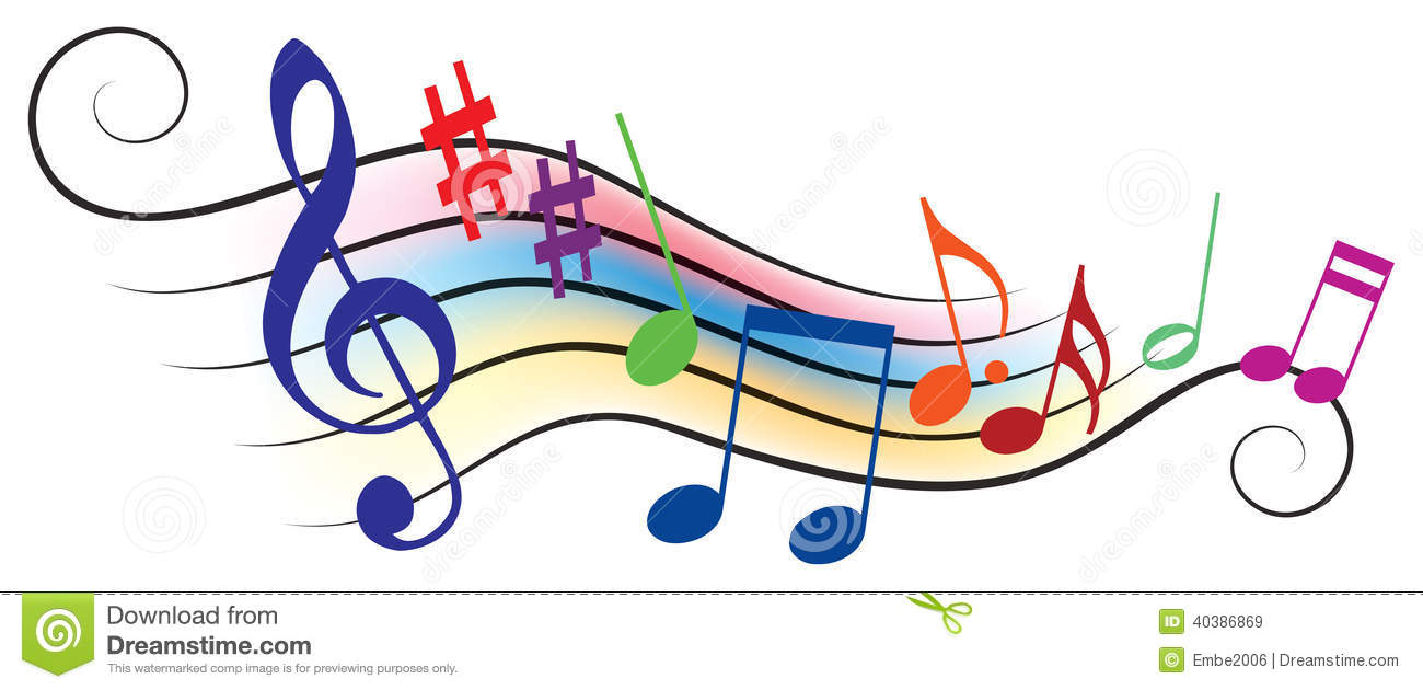 Rainbow Music Background Meaning Colorful Lines And Melody: Musical Notes Stock Vector. Illustration Of Symphony