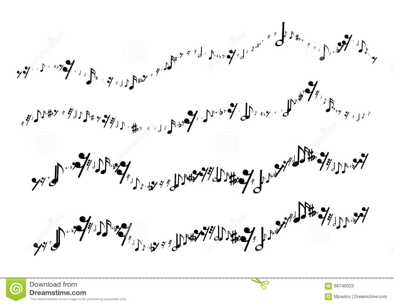 Musical Notes In The Form Of A Wavy Line Stock Vector - Illustration ...